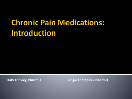 Introduction to Chronic Pain Medication