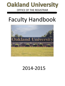 Faculty Handbook - Oakland University