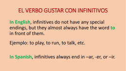 EL VERBO GUSTAR CON INFINITIVOS In English