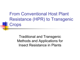Host Plant Resistance to Arthropods