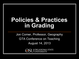 Grading Policies and Practices