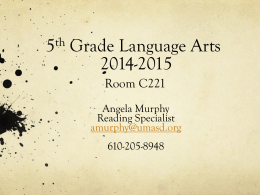 5th Grade Language Arts 2013-2014