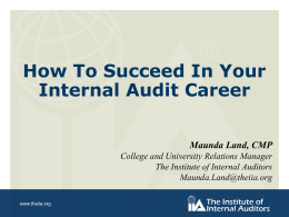 Student Night Presentation - The Institute of Internal Auditors