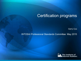 The IIA - INTOSAI`s Professional Standards Committee (PSC)