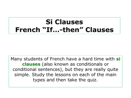 Si Clauses French *If*