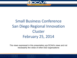 Seminar for Contractors DCAA - San Diego Regional Innovation