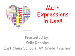 Math Expressions in Use!! - East China School District