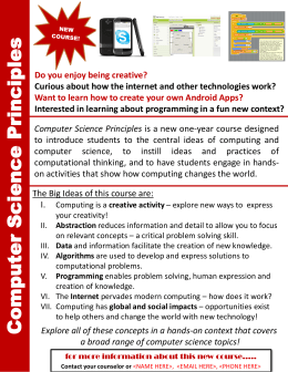 This Computer Science Principles flier