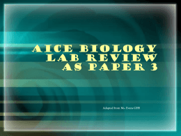 AICE Biology Lab Review