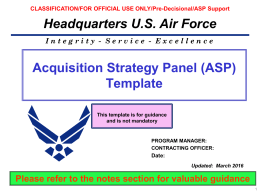 Air Force - USAF Acquisition Process Model