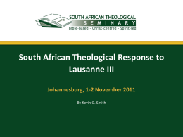 Theological Working Group - South African Theological Seminary