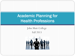 Planning for Health Professions