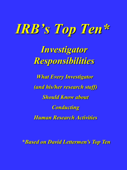 IRB`s Top 10 PI Responsibilities