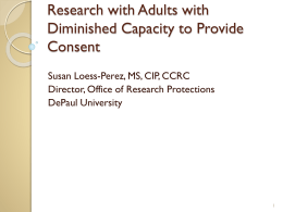Research with Adults with Diminished Capacity