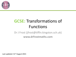 GCSE: Functions and Transformations of Graphs