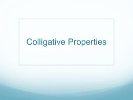 Colligative Properties–Honors