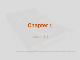 Chapter 1 - Ms. Cleary~Business Education