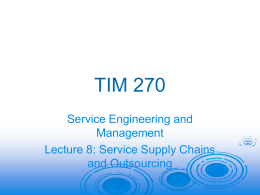 Lecture 8 - Service Supply Chains