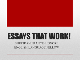 ESSAYS THAT WORK!