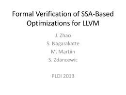 Formal Verification of SSA-Based Optimizations for LLVM