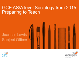Preparing to Teach AS/A level Sociology Powerpoint