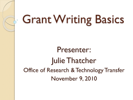 Grant Writing Basics - Arkansas State University