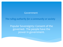 Government The ruling authority for a community or