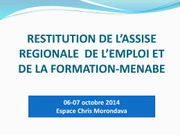 RESTITUTION DE L*ASSISE REGIONALE REGION MENABE