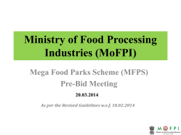 Ministry of Food Processing Industries (MoFPI)
