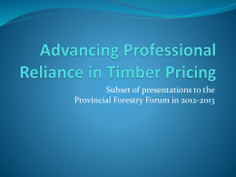 Professional Reliance in Timber Pricing
