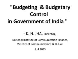 Budget Presentation at PSCI on 8.4.2013