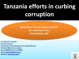 Tanzania efforts in curbing corruption