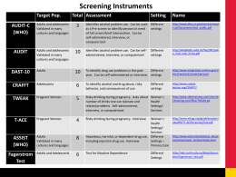 table of screening tools