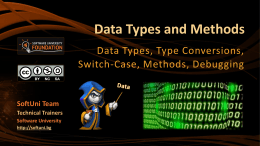 Data Types and Methods