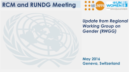 Update from the Regional Working Group on Gender