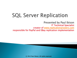 Html Overview - SQL Server Replication