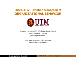 SKMA 3812 * Aviation Management ORGANIZATIONAL BEHAVIOR