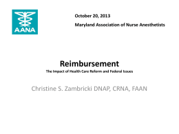Affordable Care Act and CRNAs - Maryland Association of Nurse