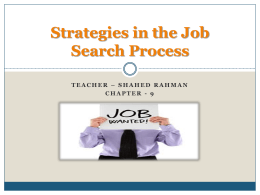 Strategies in the Job Search Process