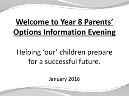 Y8 options Evening Jan 2016 FOR PARENTS