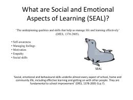 What are Social and Emotional Aspects of Learning (SEAL)