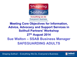 Safeguarding Adults - Solihull Community Enterprise for Success