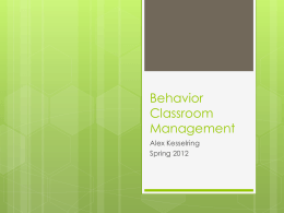 Behavior Classroom Management - Alexandra Kesselring e