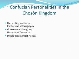 Confucian Personalities in the Chosôn Kingdom