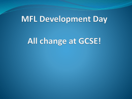 MFL development day planning for changes to GCSE 2016