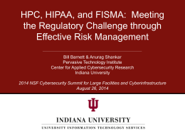 HPC, HIPAA, and FISMA