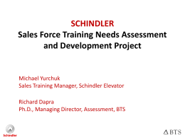 SCHINDLER Sales Force Training Needs Assessment
