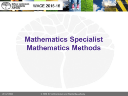 Mathematics Specialist and Methods - WACE