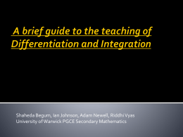 A brief guide to the teaching of Differentiation and Integration