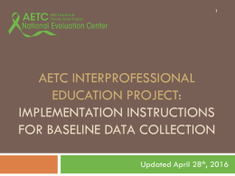 Implementation Instructions for IPE Baseline Data Collection